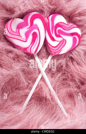 Lutscher, Herz, Liebe, rosa Stockbild