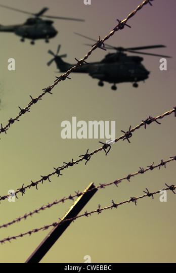 Monitoring, militärische Hubschrauber, Luft-Patrouille Stockbild