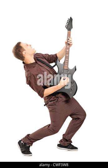In voller Länge Portrait von Rockstar Gitarre isoliert auf weiss Stockbild