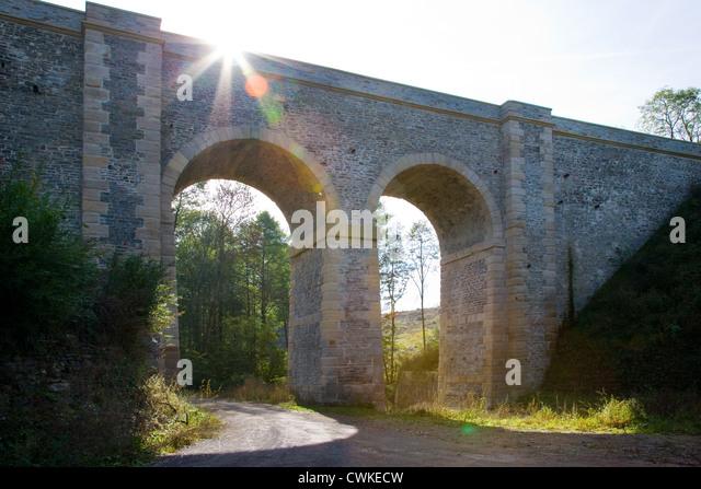 Zeleznicni Viadukt u Okore, Trat Hostivice - Podlesin, Ceska republika Stockbild