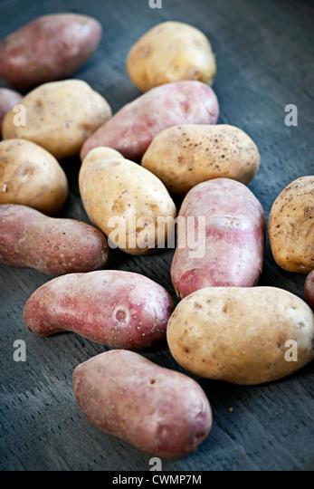 Mehrere frische rote und weiße rohe Kartoffeln Stockbild