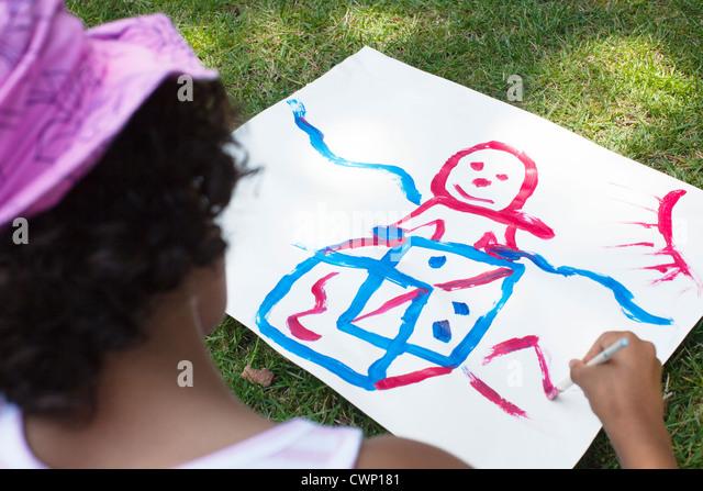 Strichzeichnung, hintere Ansicht von Mädchen - Stock-Bilder