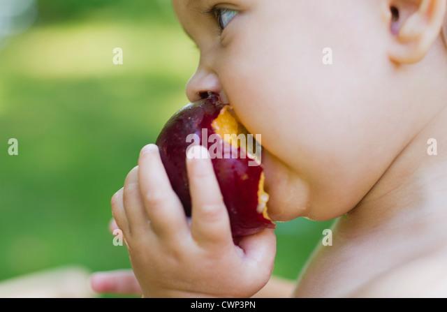 Babymädchen Essen Pflaume, seitliche Ansicht Stockbild