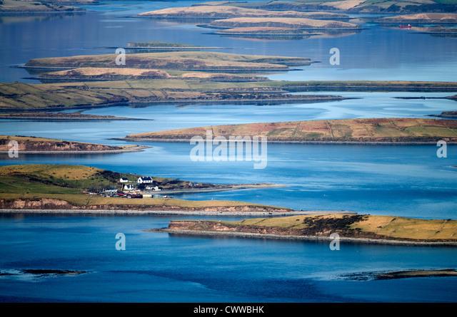 Luftaufnahme von Häusern in ländlichen Sumpf Stockbild