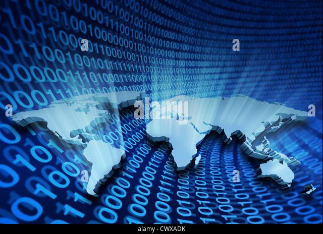 Globale Internet Business und e-Learning mit leuchtenden und glänzenden 3D würde Karte mit USA-Europa Stockbild