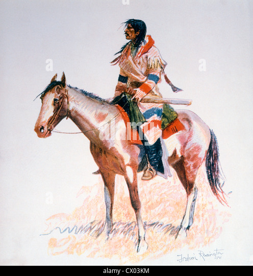 native american indian on his horse stockfotos amp native