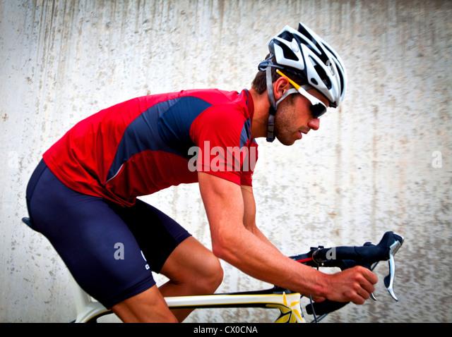 Profil von Radfahrer Fahrrad Stockbild