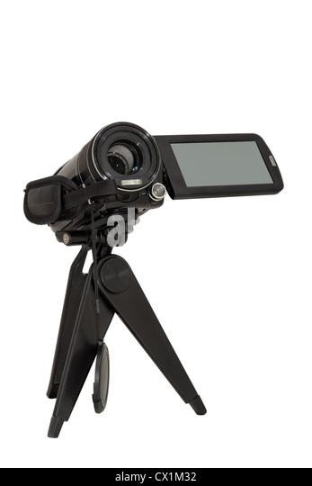 Camcorder, Kamera, Digital, Ausrüstung, Film, Hobby, Objektiv, Film, Bild, isoliert, Ziel, auf weiß, optische, Stockbild