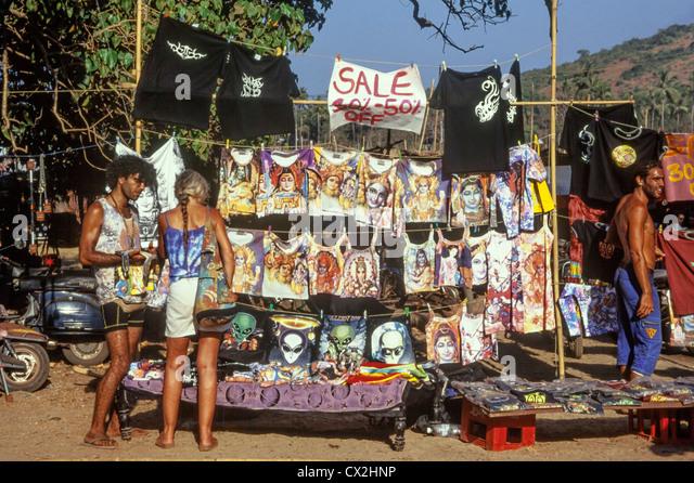 Hippie-Flohmarkt, Anjuna Beach, North Goa, Indien - Stock-Bilder