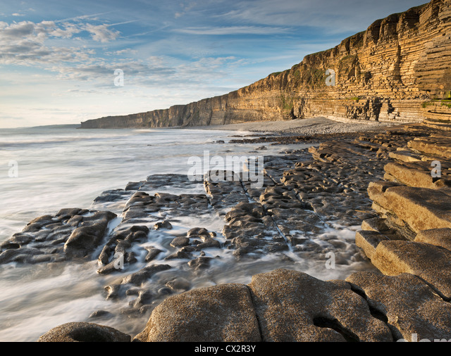 Nash-Punkt auf der Glamorgan Heritage Coast, South Wales, UK. (August) im Sommer 2012. Stockbild