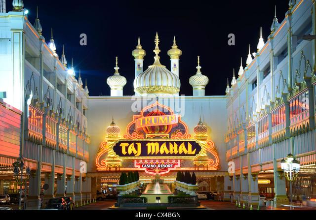 Fassade des Trump Taj Mahal Casino in Atlantic City, New Jersey, USA. Stockbild