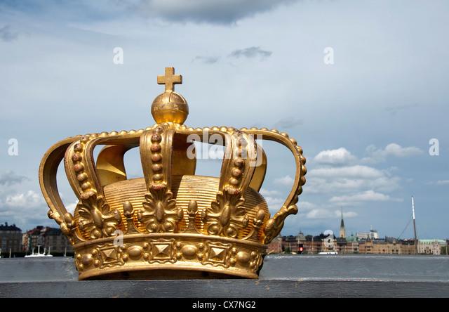 Königliche Schwedische Krone auf Skeppsholmen Brücke Stockbild