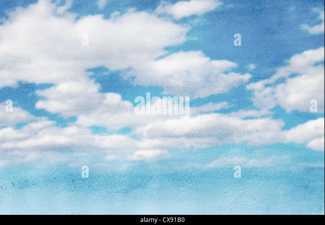 Himmel und Wolken nass Aquarell Hintergrund Stockbild