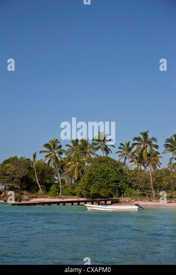 Strand, Cayo Levantado, Bucht von Samana, Dominikanische Republik, große Antillen, West Indies, Karibik, Mittelamerika Stockbild