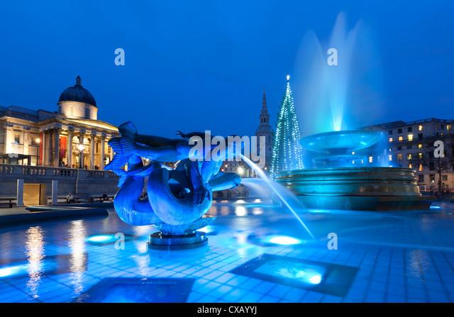 Trafalgar Square an Weihnachten, London, England, Vereinigtes Königreich, Europa Stockbild