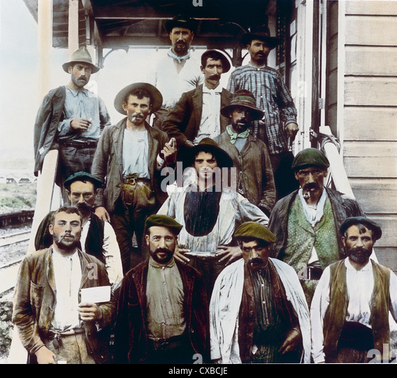 Spanische Bauarbeiter, Panamakanal, Panama, 1912 Stockbild
