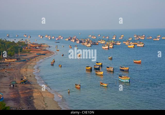 Fischerei-Hafen, Rameswaram, Tamil Nadu, Indien, Asien Stockbild