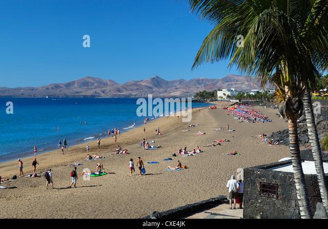 Playa Grande, Puerto del Carmen, Lanzarote, Kanarische Inseln, Spanien Stockbild