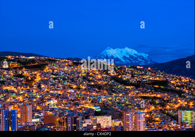 Panorama der Nacht La Paz, Bolivien Stockbild