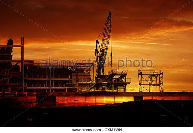 Bau-Sonnenuntergang Stockbild