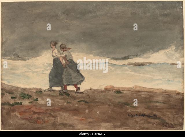 Winslow Homer, Gefahr, amerikanisch, 1836-1910, 1883 und 1887, Aquarell und Gouache über Graphit Stockbild