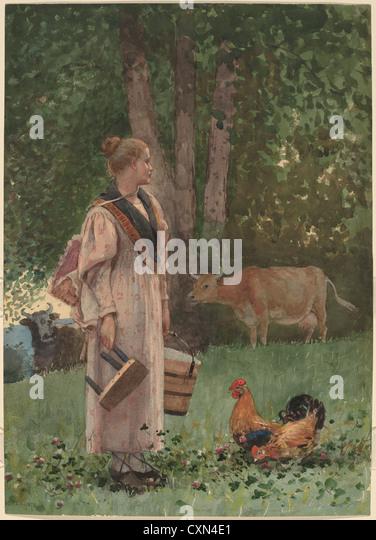 Winslow Homer (American, 1836-1910), The Milk Maid, 1878, Aquarell über Graphit Stockbild