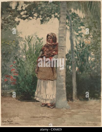 Winslow Homer (American, 1836-1910), unter eine Palme, 1886, Aquarell Stockbild