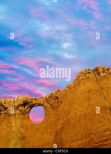 Fenster-Felsen. Badlands Nationalpark, South Dakota. Stockbild