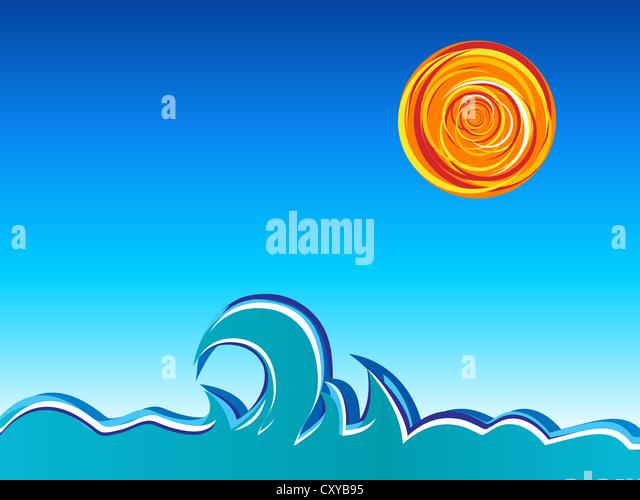 Wellen, Sonne und Himmel. Vektor-Illustration. Stockbild