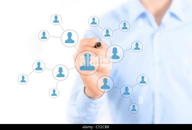 Geschäftsmann Zeichnung soziales Netzwerk Verbindung Konzept Stockbild
