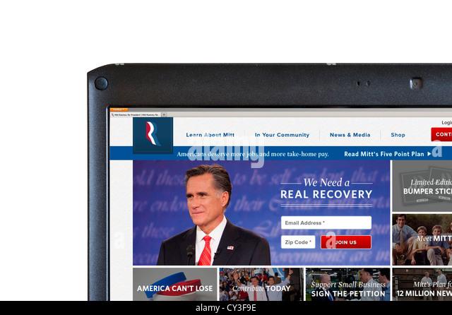 US-republikanische Präsidentschaftskandidat Mitt Romney Wahl 2012 Webseite, USA Stockbild