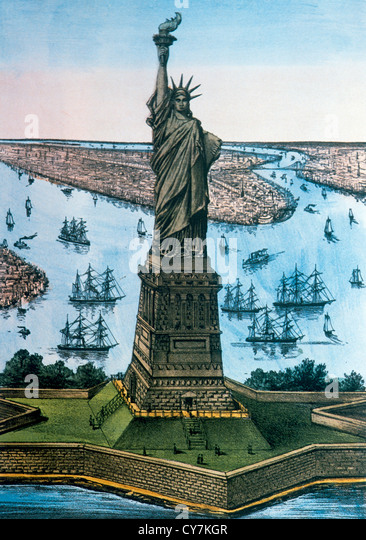 Statue of Liberty, New York, USA, Currier & Ives, Lithographie, ca. 1885 Stockbild