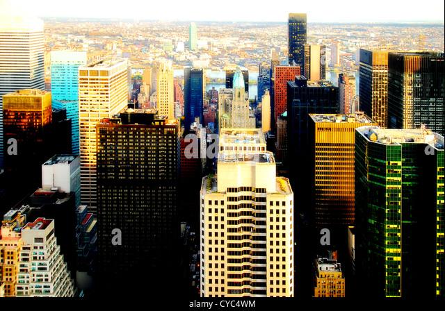 Blick vom Rockefeller Center, nördlichen Teil von Manhattan, NEw York City. Stockbild
