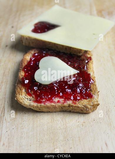 Frühstück, Toast, Marmelade, Brot Stockbild