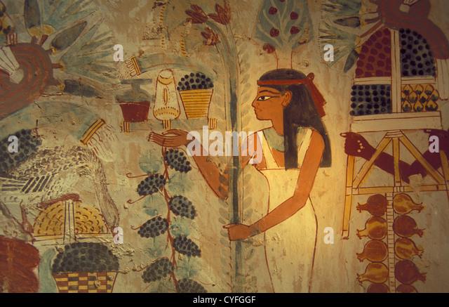Ägypten, Luxor, Nil Fluß, Westjordanland, Gräber und Tempel der Nekropole des antiken Theben. Tal Stockbild