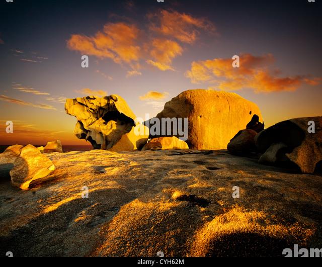Sonnenuntergang über Remarkable Rocks, Kangaroo Island Stockbild