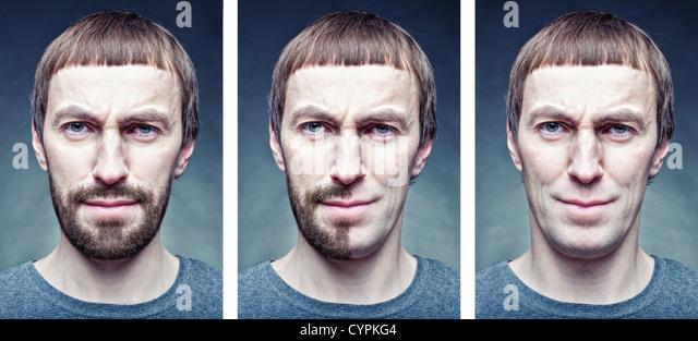 Bühne das Gesicht zu rasieren. Fotokonzept Stockbild