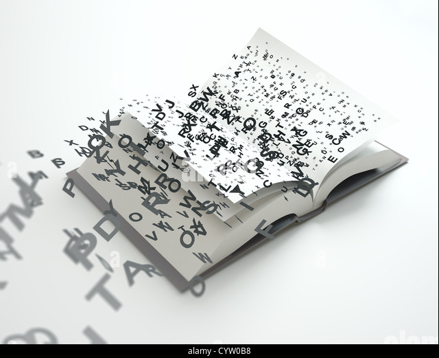 Briefe aus einem offenen Buch fliegen Stockbild