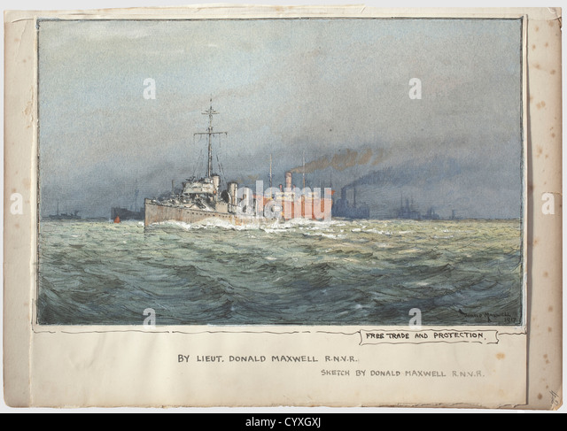 Donald Maxwell, Freihandel und Schutz A Aquarell, verstärkt mit weißen, mit Schiff Silhouetten und akzentuiert Stockbild