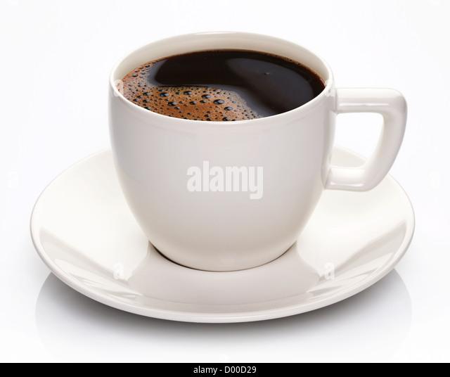 Kaffee-Tasse und Untertasse auf weißem Hintergrund. Stockbild