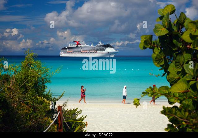 Strand auf Halbmond Kay - Bahamas Stockbild