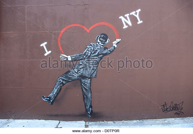 Street Art, Banksy Tribute senken East Side, Manhattan, New York City, USA Stockbild