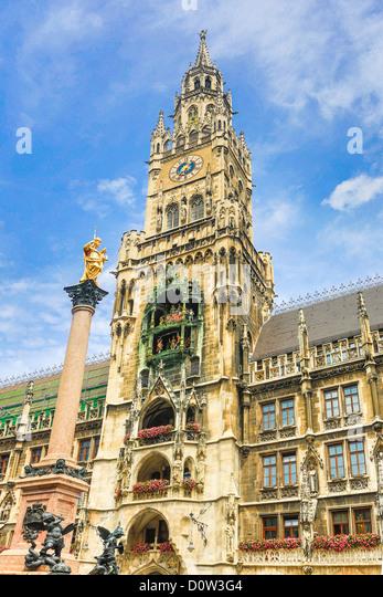 Deutschland, Europa, Reisen, München, Stadt, Marienplatz, Rathaus, Turm, Architektur, Bayern, Glockenturm, Stockbild