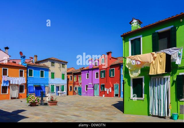 Italien, Europa, Reisen, Burano, Architektur, bunt, Farben, Tourismus, Venedig, Häuser Stockbild