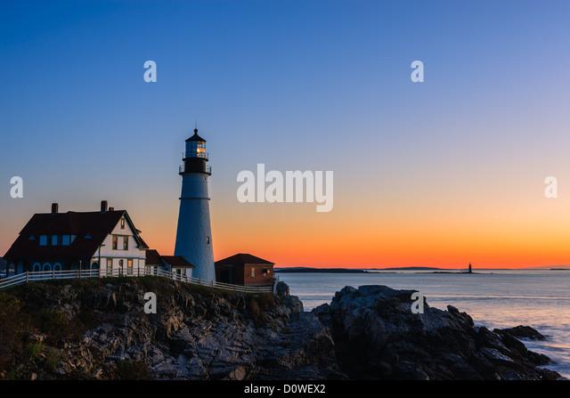 Portland Head Light ist ein historischer Leuchtturm in Cape Elizabeth, Maine Stockbild