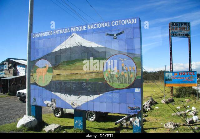 Eingang zu den Vulkanpark Cotopaxi in Ecuador Stockbild