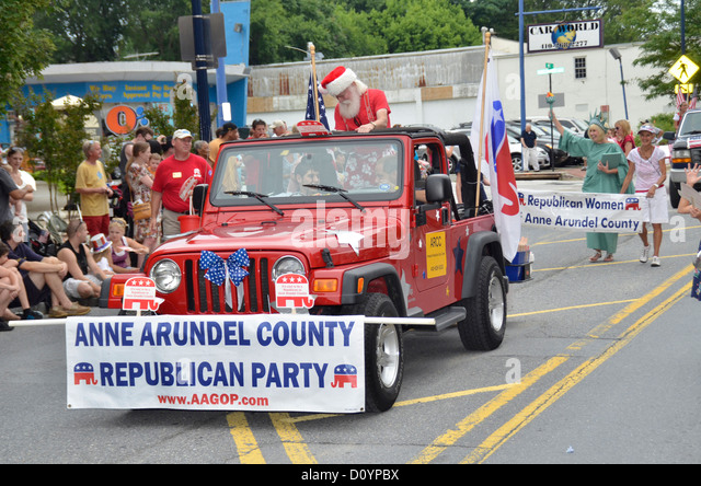 Anne Arundel republikanische Partei zu beteiligen, in der 4. Juli Parade in Annapolis, Maryland Stockbild