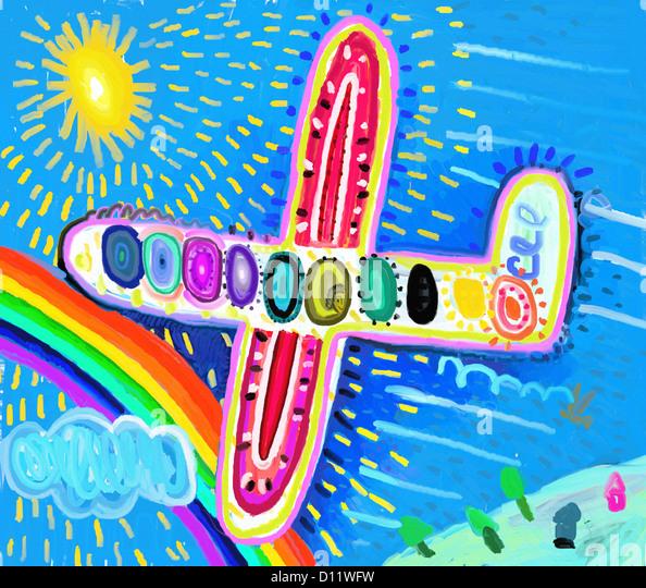 Das Flugzeug traf sich mit Regenbogen Stockbild