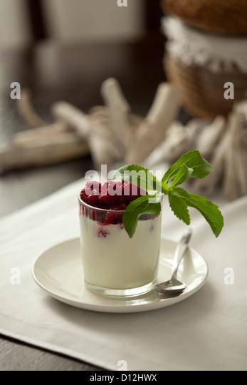 Glas-Creme mit Himbeeren und Stevia, Nahaufnahme Stockbild