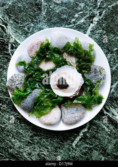 Teller mit Austern mit Kaviar und Algen Stockbild